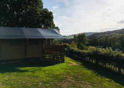 Oak tent and view of valley