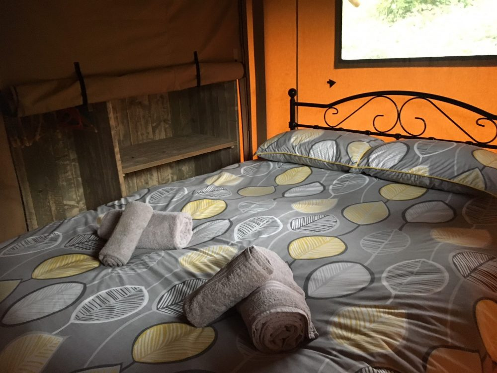 King size bed with luxury duvet in our glamping tents