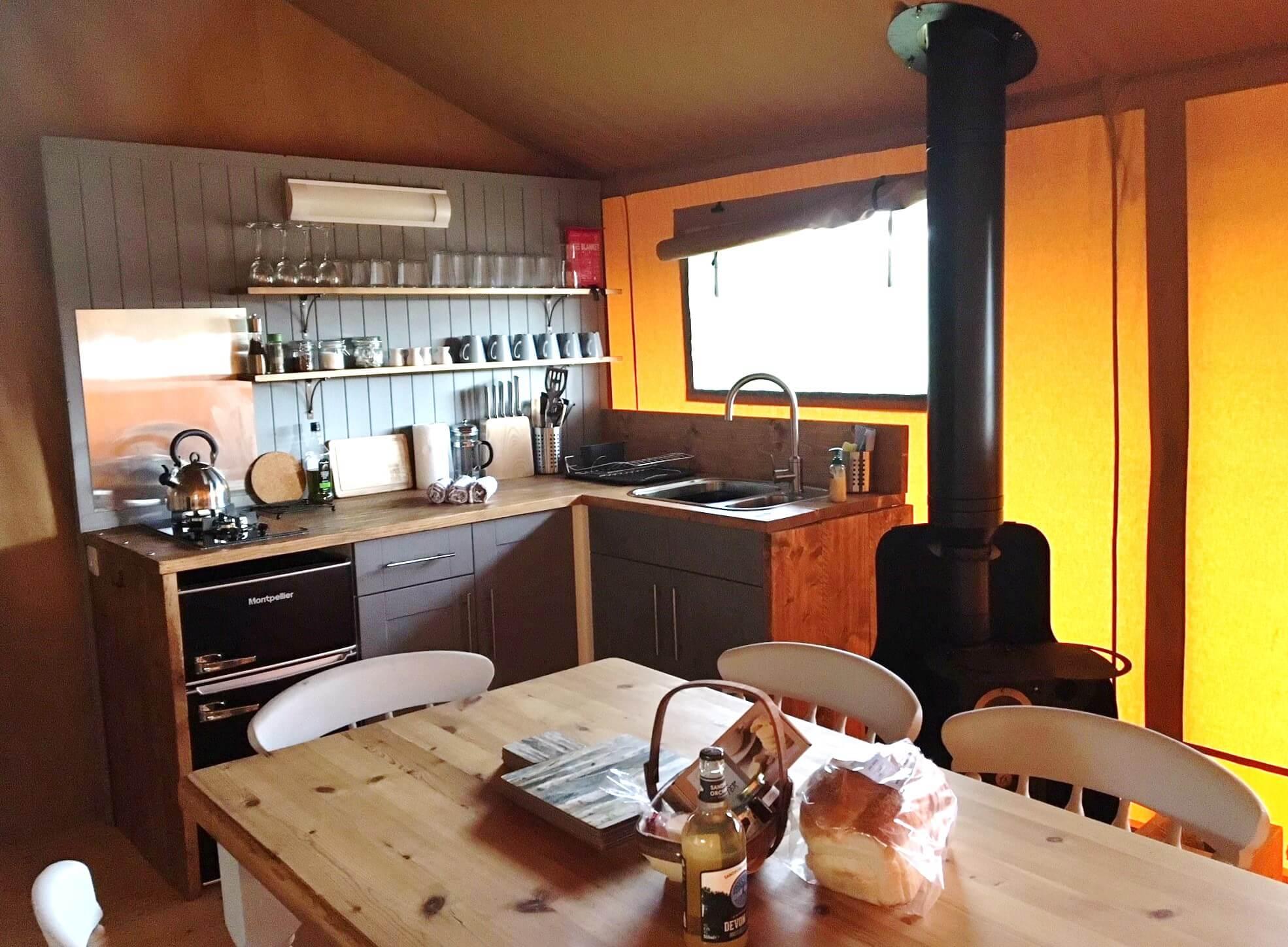 Birch - Luxury Glamping Tent - Kitchen Area