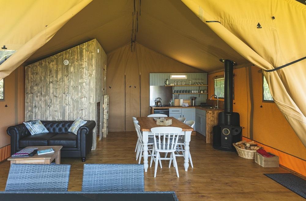 Birch glamping tent - interior
