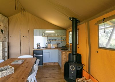 Birch glamping tent - kitchen and woodburner