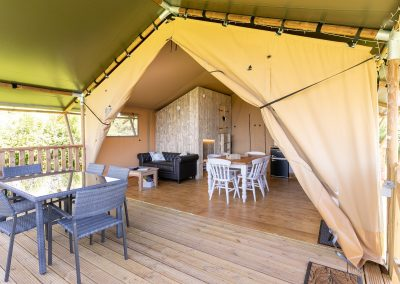 Birch glamping tent - living and dining area