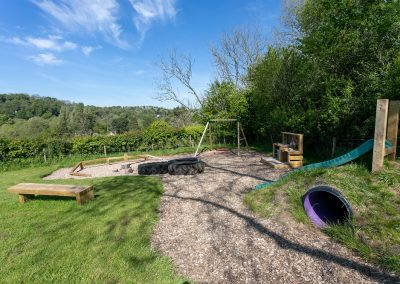 Play area in glamping field