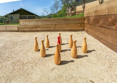 Skittles game in glamping field